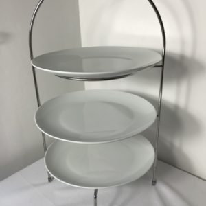 White plate 3 tier cake stand hire